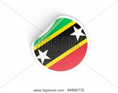 Round Sticker With Flag Of Saint Kitts And Nevis