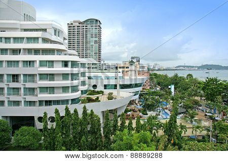 Aerial View Of A Hotel Building And Beach At Pattaya, Chonburi, Thailand