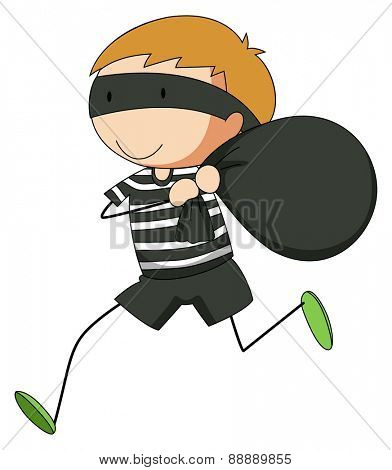 Close up robber getting away with a bag