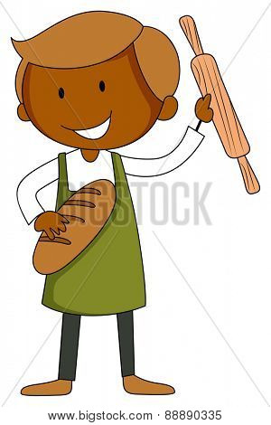 Male baker with bread and roller in his hands
