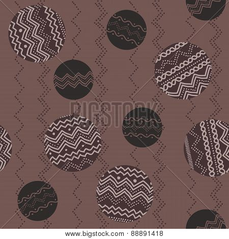 Abstract Illustration With Rounds And Hand-drawn Elements. Seamless Pattern.