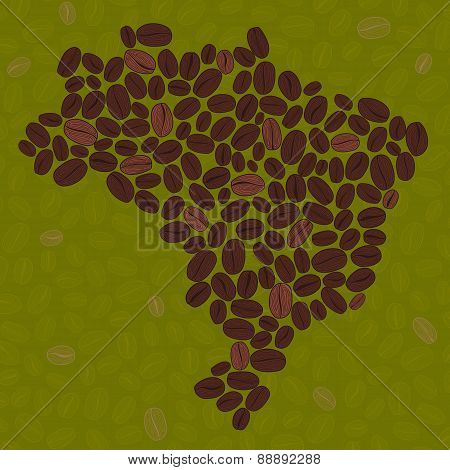 Brazil Map Made Of Roasted Coffee Beans. Illustration.