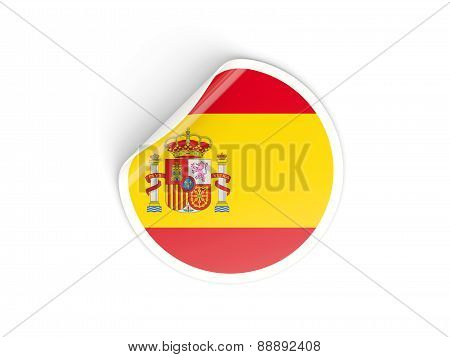 Round Sticker With Flag Of Spain