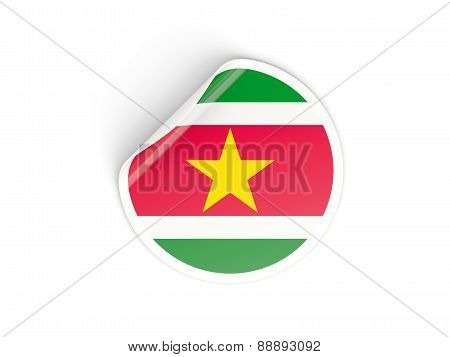Round Sticker With Flag Of Suriname