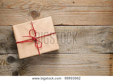 Gift Box Top View On Wooden Background