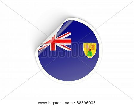 Round Sticker With Flag Of Turks And Caicos Islands