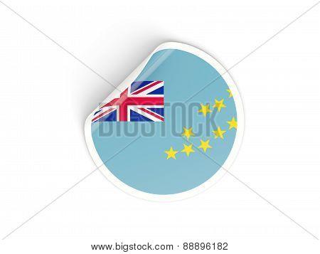 Round Sticker With Flag Of Tuvalu