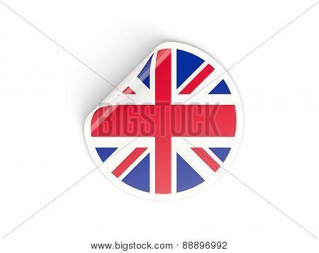 Round Sticker With Flag Of United Kingdom