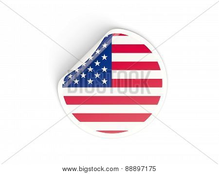 Round Sticker With Flag Of United States Of America