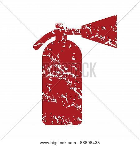 Red grunge fire extinguisher logo