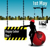 stock photo of labor  - Abstract colorful background with a woman silhouette standing on a red globe and holding a plate with the text Happy Labor Day - JPG