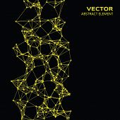 picture of cybernetics  - Vector element of yellow abstract cybernetic particles on black background - JPG