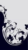 image of gamma  - Floral vector decorative backgound in black and gray gamma - JPG