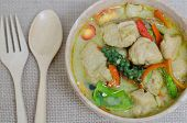 stock photo of thai cuisine  - Green curry fish balls is Thai cuisine - JPG