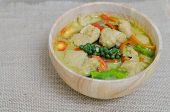 stock photo of thai cuisine  - Green curry fish balls is Thai cuisine. ** Note: Soft Focus at 100%, best at smaller sizes - JPG