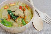 foto of thai cuisine  - Green curry fish balls is Thai cuisine. ** Note: Shallow depth of field - JPG