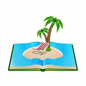 stock photo of palm  - Open book with beach and palm tree inside - JPG