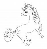 picture of unicorn  - cartoon unicorn on white background  - JPG