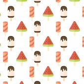 image of popsicle  - Ice cream and popsicle seamless pattern on white background - JPG
