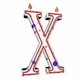 pic of letter x  - X letter in shape of birthday candle 3d render isolated over white square image - JPG