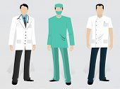 stock photo of surgeons  - Set of Medical characters including a young Doctor - JPG