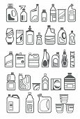 stock photo of household  - household chemicals and cleaning supplies bottles icons - JPG