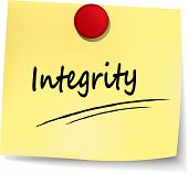 picture of integrity  - illustration of integrity yellow paper design note - JPG