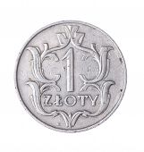 picture of zloty  - one Polish zloty isolated on white background - JPG