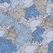 image of beach shell art  - Seamless marine pattern with sea shells - JPG