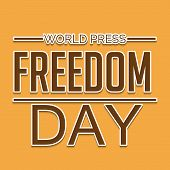 picture of freedom speech  - illustration of stylish colorful text for World Press Freedom Day in yellow background - JPG
