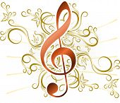 foto of g clef  - Abstract musical background with treble clef - JPG