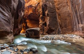 stock photo of nationalism  - The Narrows trail Zion national park Utah Zion National Park Utah - JPG