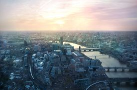 stock photo of roof-light  - London sunset view from the Shard - JPG