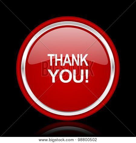 thank you red glossy web icon chrome design on black background with reflection