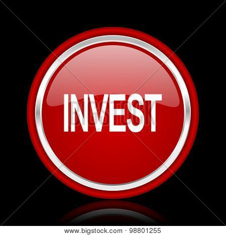 invest red glossy web icon chrome design on black background with reflection
