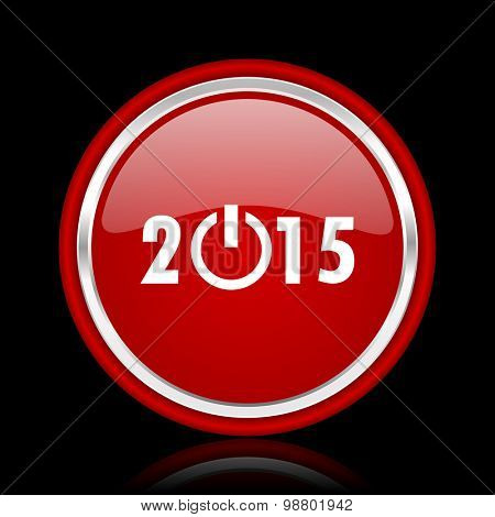 new year 2015 red glossy web icon chrome design on black background with reflection