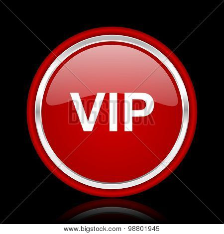 vip red glossy web icon chrome design on black background with reflection