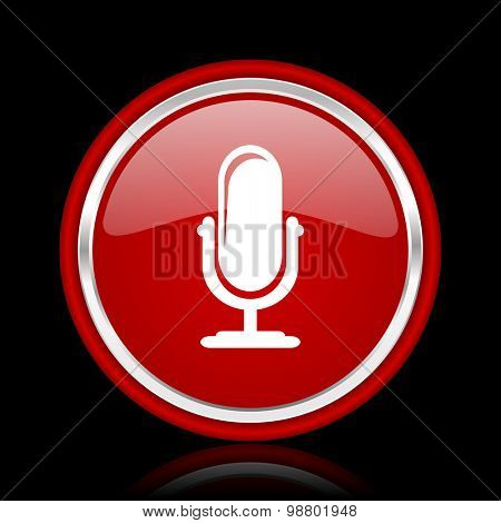 microphone red glossy web icon chrome design on black background with reflection