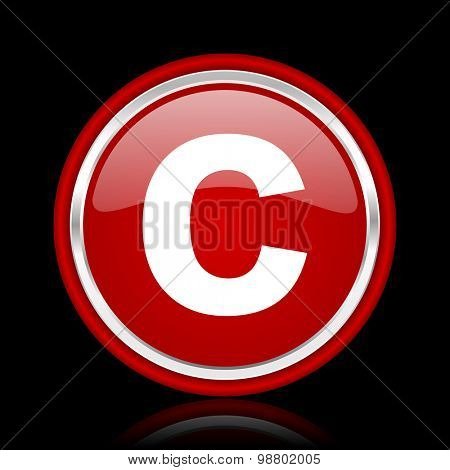 copyright red glossy web icon chrome design on black background with reflection