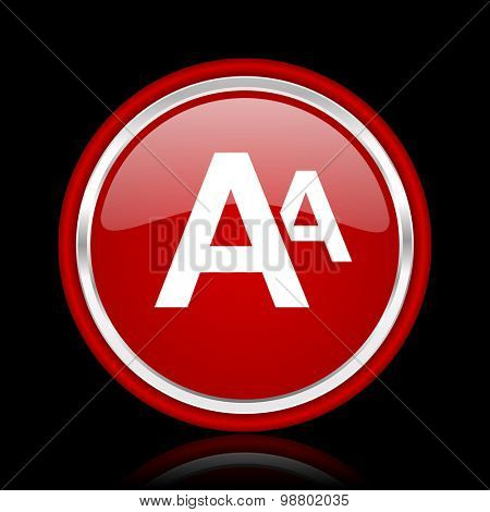 alphabet red glossy web icon chrome design on black background with reflection