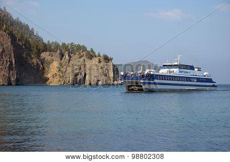 Baikal, Russia - July,28 2015: Ship Barguzin-2 comes to Granddaughter Bay