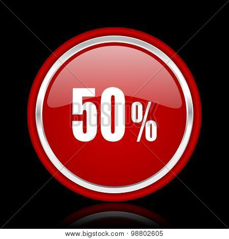 50 percent red glossy web icon chrome design on black background with reflection