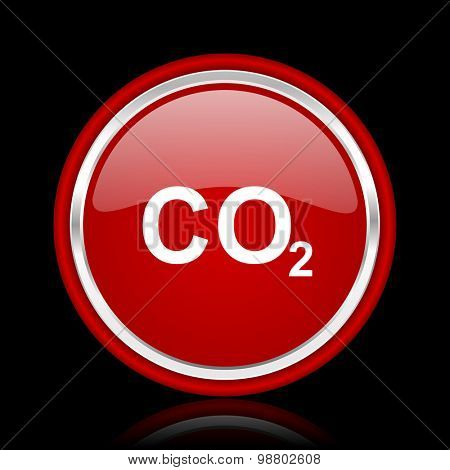 carbon dioxide red glossy web icon chrome design on black background with reflection