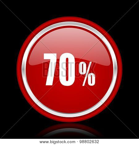 70 percent red glossy web icon chrome design on black background with reflection