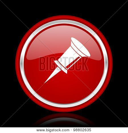 pin red glossy web icon chrome design on black background with reflection