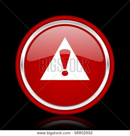 exclamation sign red glossy web icon chrome design on black background with reflection