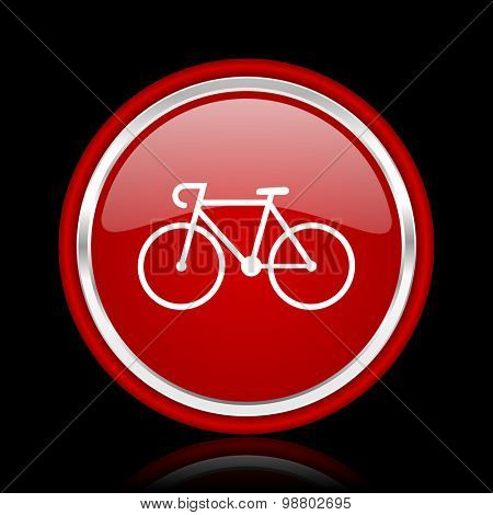bicycle red glossy web icon chrome design on black background with reflection