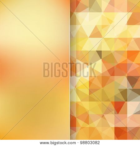 Abstract Background Consisting Of Yelow, Orange Triangles And Matt  Glass