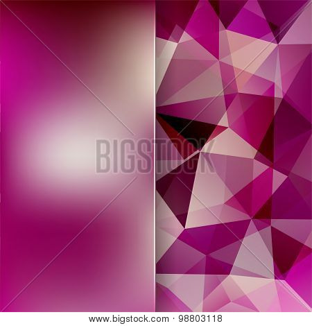 Abstract Background Consisting Of Pink, Purple Triangles And Matt  Glass