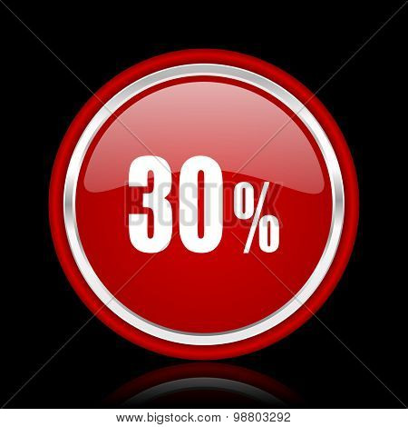 30 percent red glossy web icon chrome design on black background with reflection